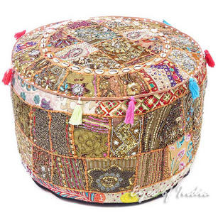 Round Brown Decorative Pouf Ottoman Cover Bohemian Boho Pouf Pouffe - 22 X 12""