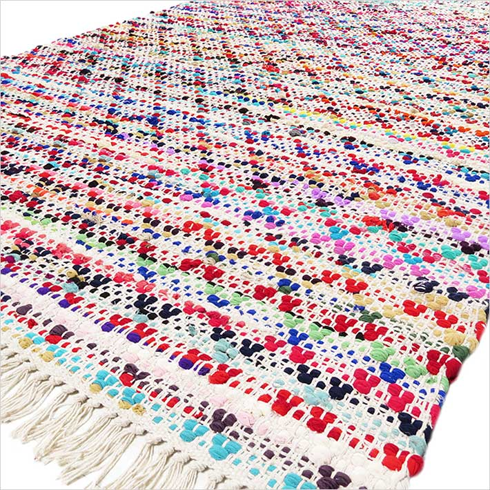 Colorful Bohemian White Multicolor Handmade Chindi Decorative Boho Woven Rag Rug - 3 X 5 to 5 X 8 ft