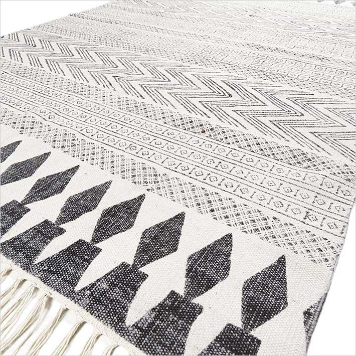 White Black Cotton Block Print Area Accent Flat Weave