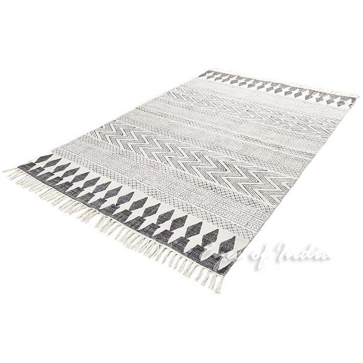 Off White Black Cotton Block Print Boho Area Accent Flat