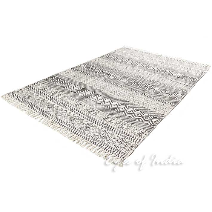 Black Off White Cotton Block Print Area Boho Chic Accent Dhurrie Rug 3 X 5 To 8 10 Ft