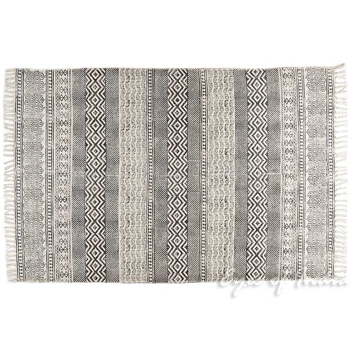 Black White Block Print Flat Weave Woven Area Accent