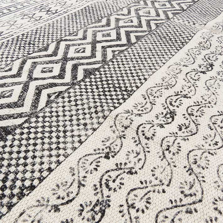 Black Off White Block Print Flat Weave Woven Area Accent