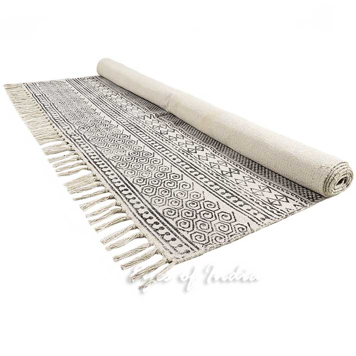weave print cotton g cot area dhurrie flat white black rug woven x lrglrgrug accent whblk block