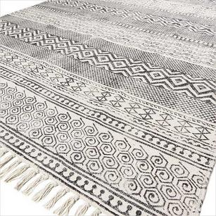 Black White Block Print Flat Weave Woven Area Accent Dhurrie Cotton Rug - 4 X 6 ft