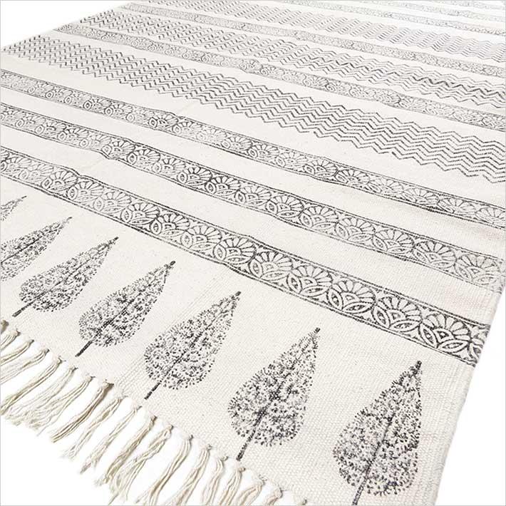 Off White Black Flat Weave Woven Cotton