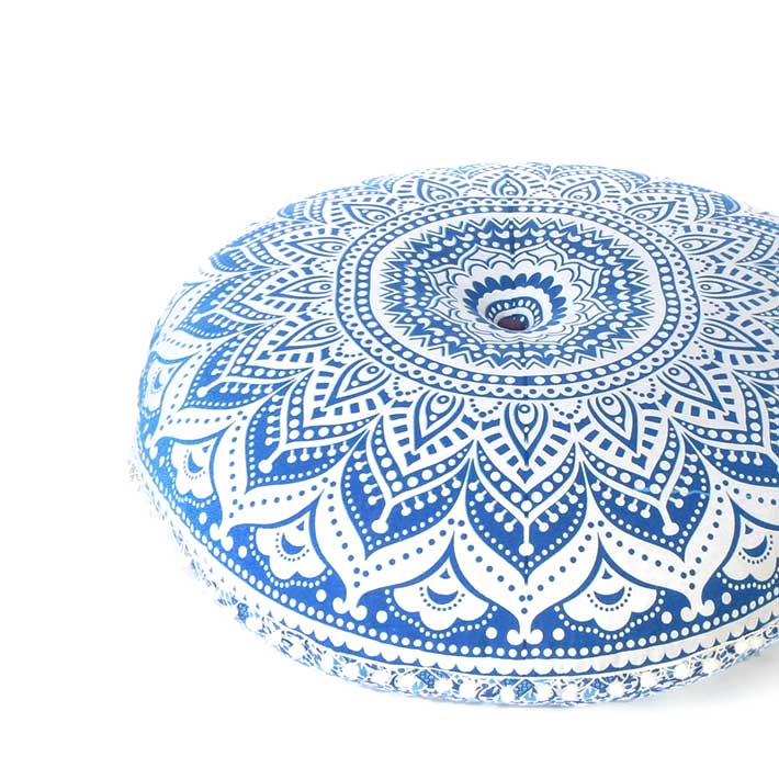 """Blue Ombre Round Floor Pillow Cover Meditation Cushion Seating -32"""""""