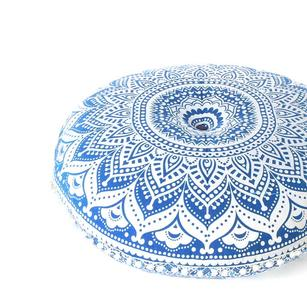 Blue Ombre Round Floor Pillow Cover Meditation Cushion Seating -32""