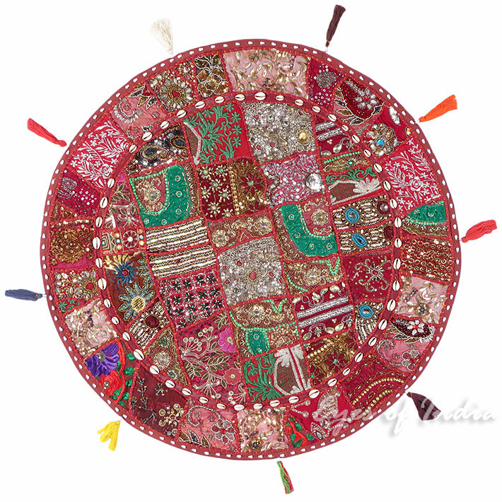 Decorative Burgundy Red Boho Round Colorful Floor Pillow Bohemian Meditation Cushion Seating Cover - 40""
