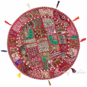 Decorative Burgundy Red Boho Floor Pillow Bohemian Meditation Cushion Seating Cover - 40""