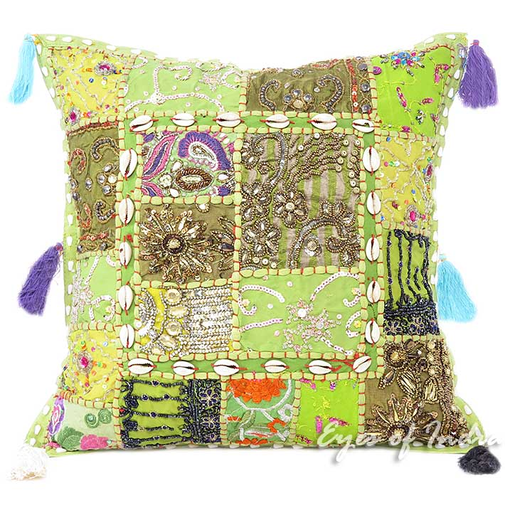 Green Throw Colorful Decorative Patchwork Bohemian Sofa Pillow Boho Couch Cushion Cover- 16""