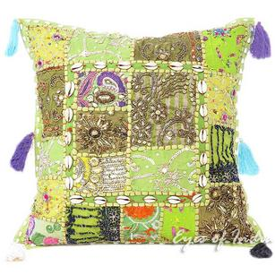 Green Throw Decorative Patchwork Bohemian Sofa Pillow Boho Couch Cushion Cover- 16""