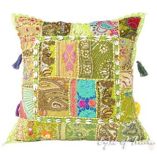 Small Green Bohemian Patchwork Colorful Decorative Sofa Boho Throw Couch Pillow Cushion Cover- 20""