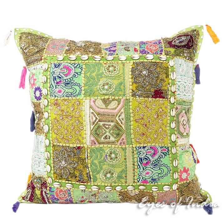 "Large Green Decorative Throw Boho Patchwork Bohemian Cushion Throw Pillow Cover- 24"""