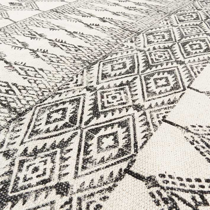 Sentinel 5 X 7 Ft Black White Cotton Block Print Area Accent Dhurrie Rug Flat Weave Woven