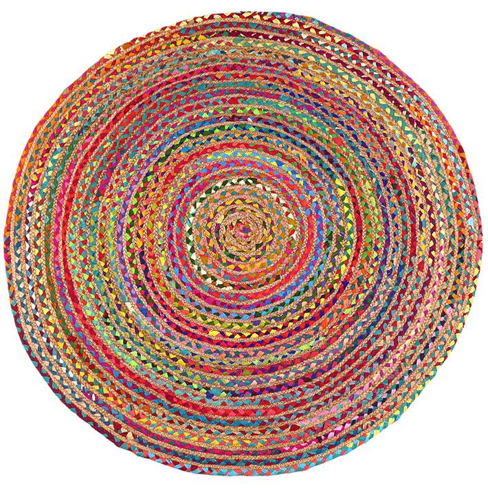 Round Colorful Jute Rug Chindi Rag