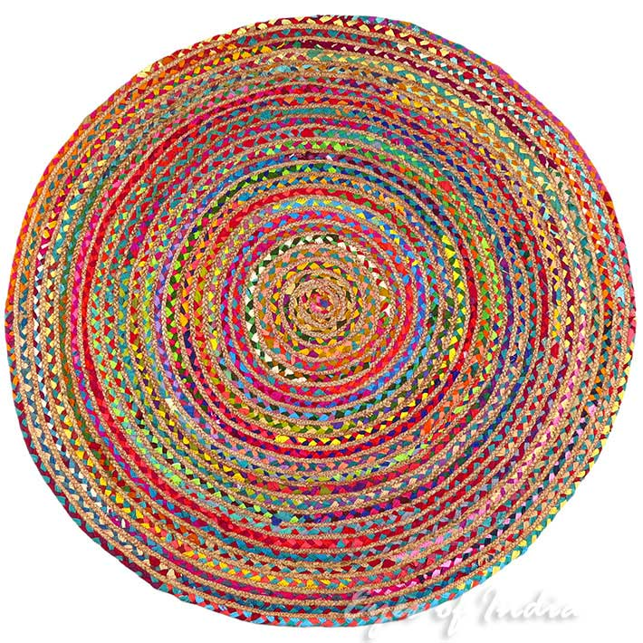 Round Colorful Tan Natural Jute Chindi Sisal Woven Area Braided Boho Rug - 4 ft, 5 ft