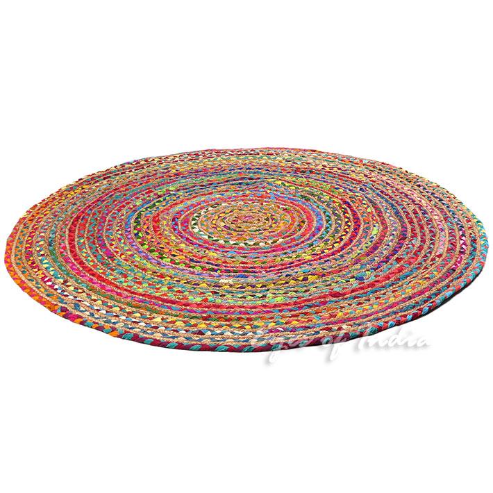 Round Colorful Jute Rug Chindi Rag Rugs Eyes Of India