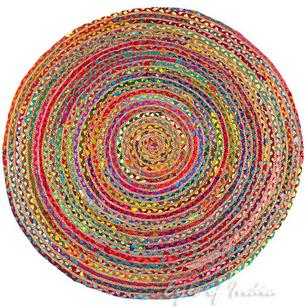 Round Colorful Natural Jute Chindi Sisal Woven Area Braided Boho Rug - 4 to 6 ft