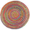 Round Colorful Natural Jute Chindi Sisal Woven Area Braided Boho Rug - 4 to 8 ft 1