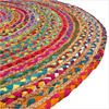 Round Colorful Tan Natural Jute Chindi Sisal Woven Area Braided Boho Rug - 4 ft, 5 ft 3