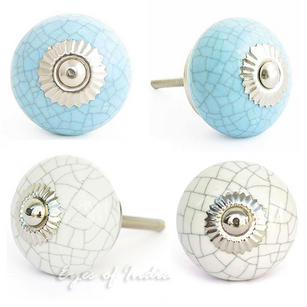 Cracked Ceramic Cabinet Dresser Cupboard Door Knobs Pulls Decorative Shabby Chic