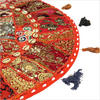 Red Patchwork Round Colorful Floor Seating Meditation Pillow Cushion Throw Cover with Shells - 28""