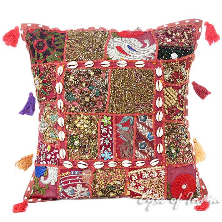 Small Burgundy Red Colorful Throw Pillow Sofa Cushion Cover Couch Boho Bohemian - 16""