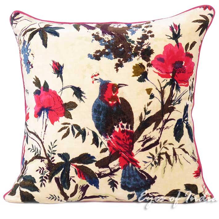 "Cream Velvet Colorful Decorative Bird Boho Bohemian Throw Sofa Cushion Couch Pillow Cover - 16"", 20"", 24"""