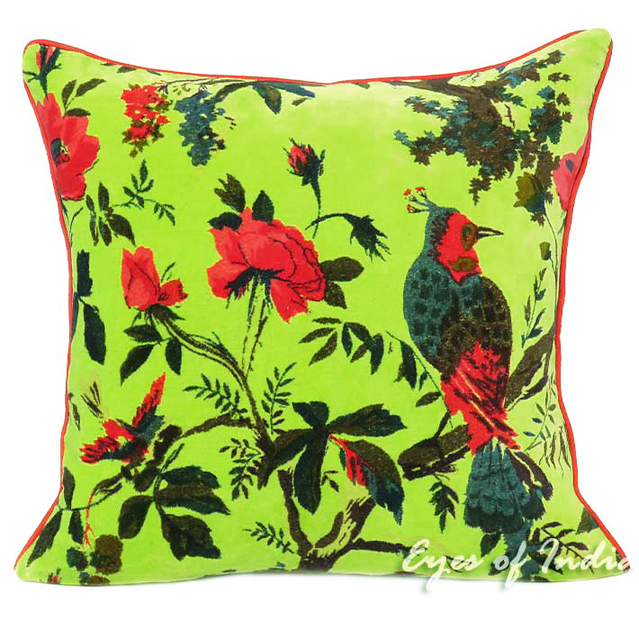 Green Boho Bohemian Velvet Decorative Bird Throw Sofa Cushion Pillow Cover - 16, 24""