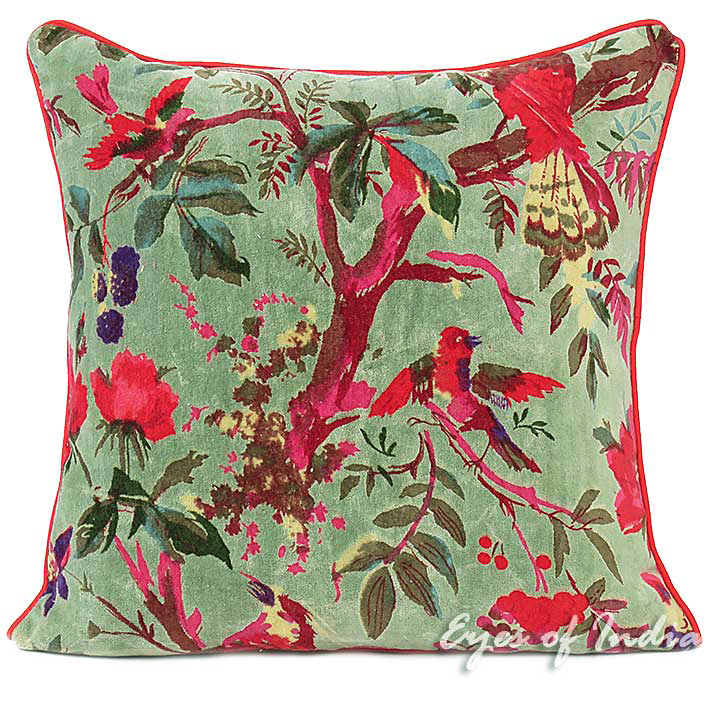 Olive Velvet Colorful Decorative Bird Throw Sofa Cushion Boho Bohemian Couch Pillow Cover - 16, 24""