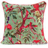 "Olive Velvet Colorful Decorative Bird Throw Sofa Cushion Boho Bohemian Couch Pillow Cover - 16, 24"" 1"