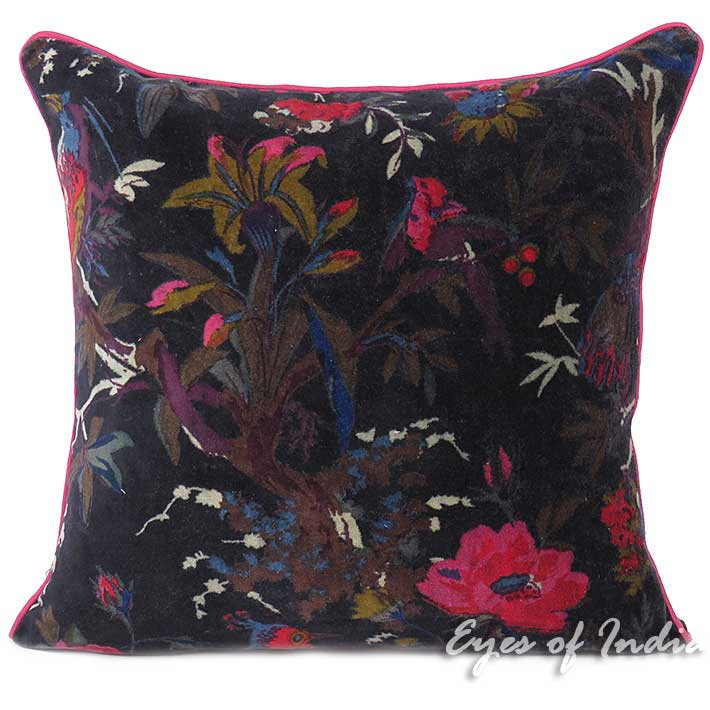 "Black Velvet Colorful Decorative Bird Throw Boho Bohemian Sofa Cushion Couch Pillow Cover - 16, 20"", 24"""
