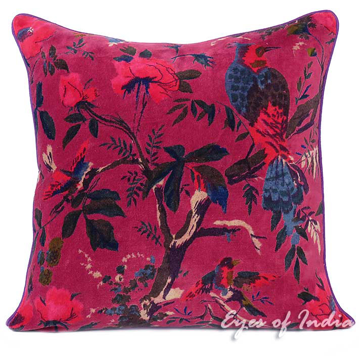 Burgundy Red Velvet Colorful Decorative Bird Throw Sofa Cushion Boho Couch Pillow Cover - 16, 24""