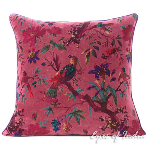 "Burgundy Red Velvet Colorful Decorative Bird Throw Sofa Cushion Boho Couch Pillow Cover - 16, 20"", 24"""