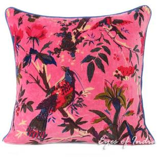 Pink Velvet Colorful Decorative Bird Throw Sofa Boho Bohemian Cushion Couch Pillow Cover - 16, 24""