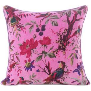 "Pink Velvet Colorful Decorative Bird Throw Sofa Boho Bohemian Cushion Couch Pillow Cover - 16"", 20"", 24"""