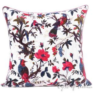 White Velvet Colorful Decorative Bird Throw Sofa Boho Bohemian Cushion Couch Pillow Cover - 16, 24""