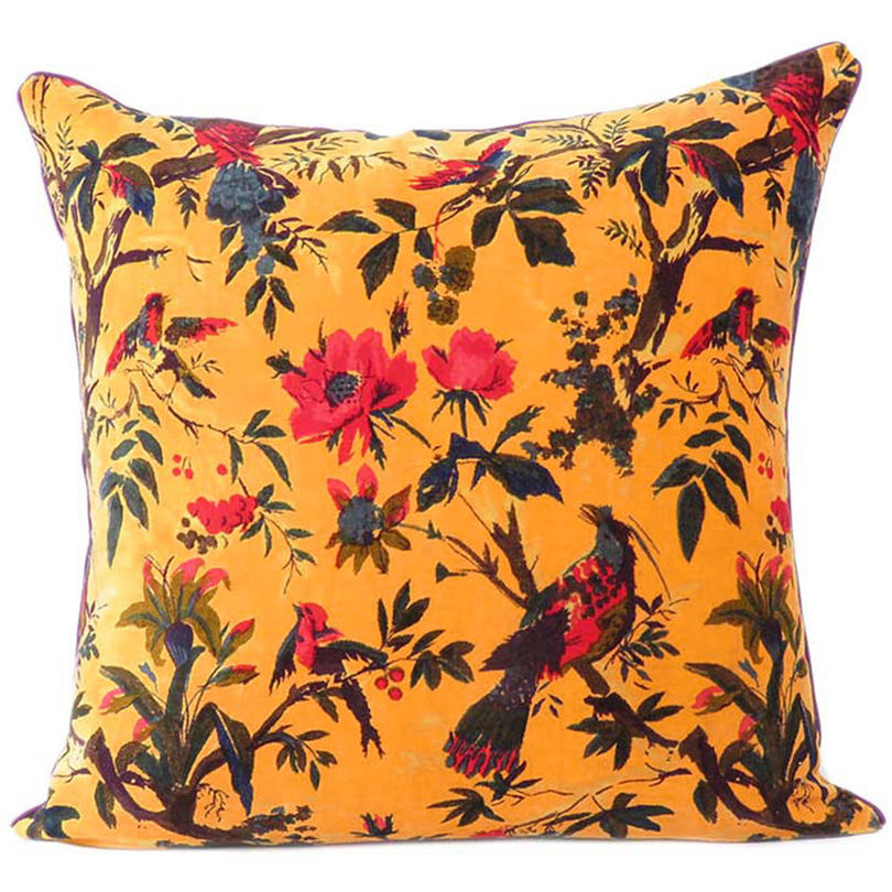 "Yellow Orange Velvet Colorful Decorative Bird Throw Sofa Cushion Boho Bohemian Couch Pillow Cover - 16"", 20"", 24"""
