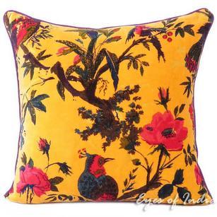 "Yellow Velvet Colorful Decorative Bird Throw Sofa Cushion Boho Bohemian Couch Pillow Cover - 16, 24"""