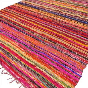 Brown Colorful Decorative Woven Chindi Boho Bohemian Rug Rag - 4 X 6 ft