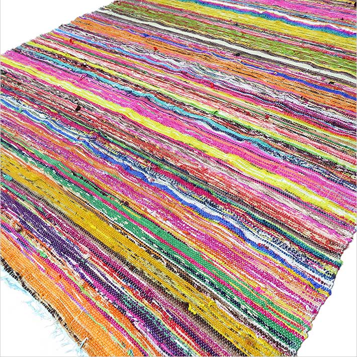 Blue Decorative Colorful Woven Chindi Bohemian Boho Rug Rag - 4 X 6 ft