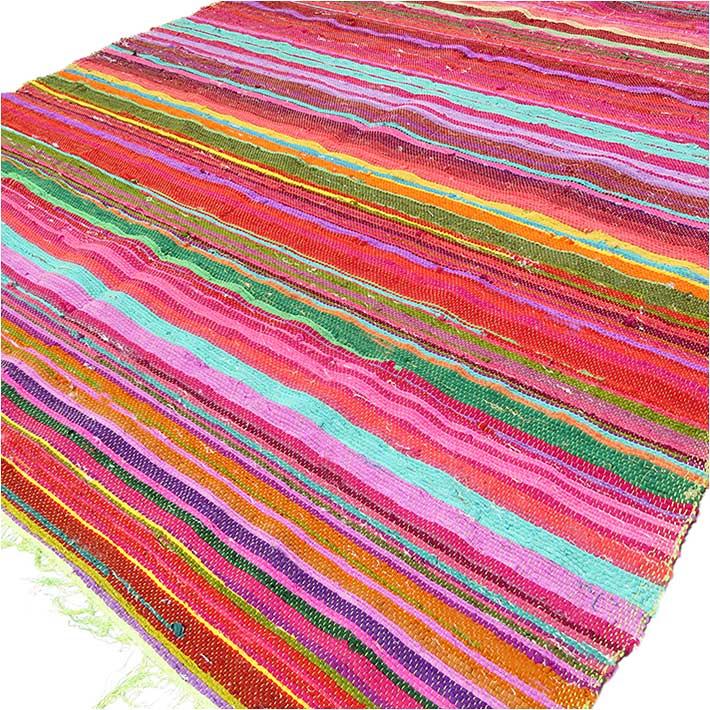 Orange Colorful Decorative Chindi Boho Bohemian Woven Rug Rag - 4 X 6 ft