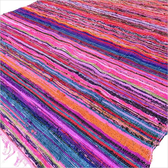 Pink Decorative Colorful Woven Chindi Bohemian Boho Rug Rag - 4 X 6 ft