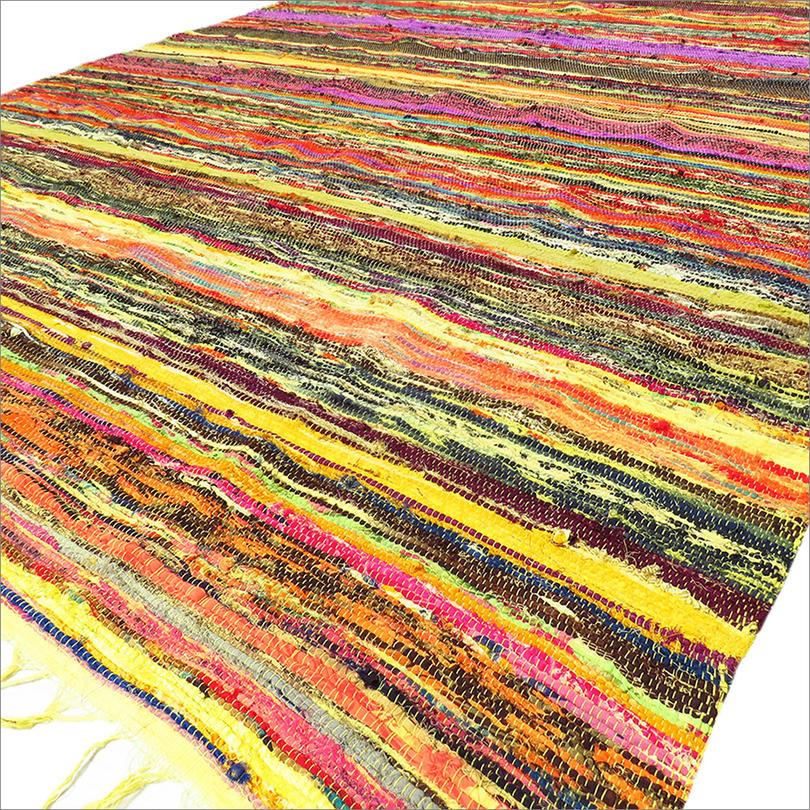 Yellow Multicolored Rag Rug Handmade
