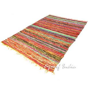 Yellow Colorful Decorative Chindi Boho Bohemian Woven Rag Rug - 4 X 6 ft