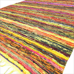 Yellow Colorful Decorative Chindi Boho Bohemian Woven Rag Rug - 4 X 6 ft