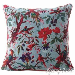 "Gray Velvet Colorful Decorative Bird Throw Sofa Cushion Boho Bohemian Couch Pillow Cover - 16"", 20"", 24"""