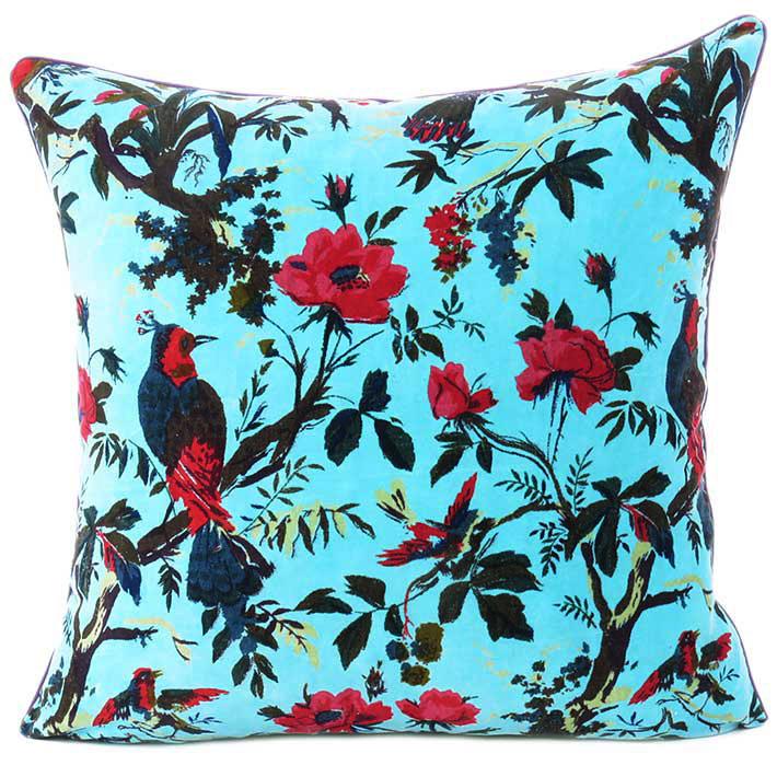 "Blue Velvet Colorful Decorative Bird Throw Sofa Cushion Couch Pillow Boho Bohemian Cover - 16"", 20"", 24"""