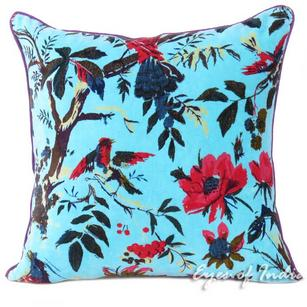 Blue Velvet Colorful Decorative Bird Throw Sofa Cushion Couch Pillow Boho Bohemian Cover - 16, 24""